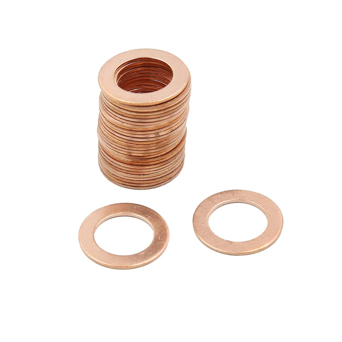 X AUTOHAUX 14.5mm Inner Dia Copper Crush Washers Flat Car Sealing Gaskets Rings 30pcs by X AUTOHAUX (Image #1)