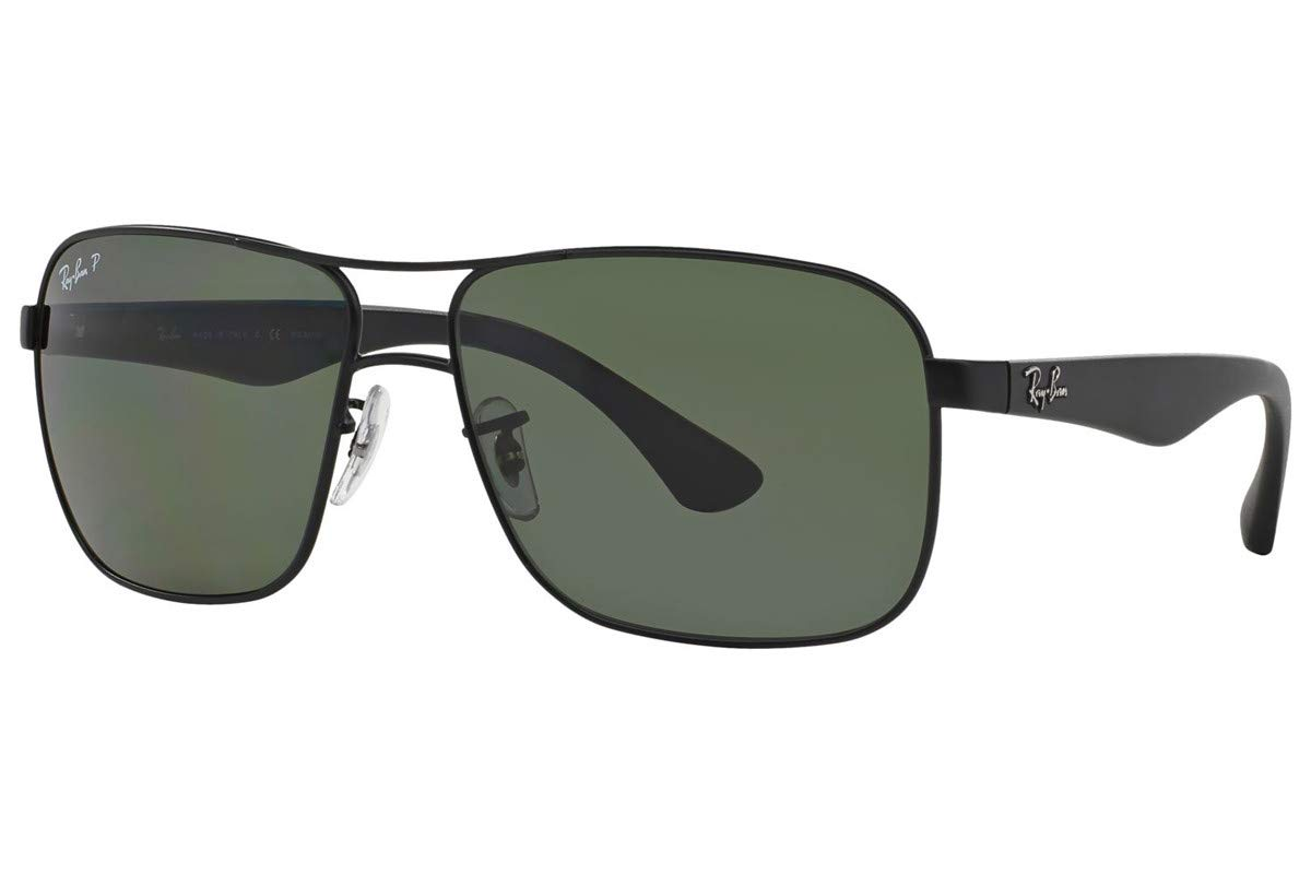 RAY-BAN Men's RB3516 Square Metal Sunglasses, Matte Black/Polarized Green, 59 mm by RAY-BAN