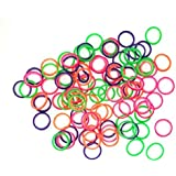 "1/4"" Inch Orthodontic Elastic Rubber Bands 100 Pack Neon Medium Force 4.5 oz for Bows, Dreadlocks, Dreads, Doll Hair…"