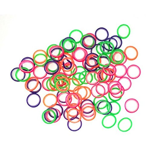 """1/4"""" Inch Orthodontic Elastic Rubber Bands 100 Pack Neon Medium Force 4.5 oz for Bows, Dreadlocks, Dreads, Doll Hair, Braids, Horse Mane Tail, Tooth Gap + Free Elastic Placer for Braces by Cayenas"""