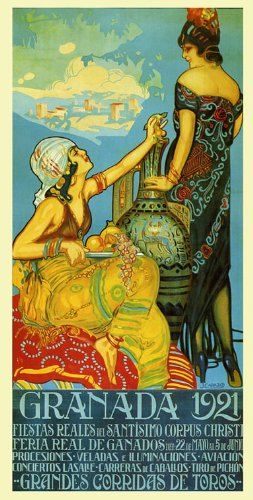 Granada 1921 Trip to Spain Spanish Fashion Ladies Girls Fruits Travel Tourism 15'' X 30'' Image Size Vintage Poster Reproduction, We Have Other Sizes Available on Amazon by Heritage Posters