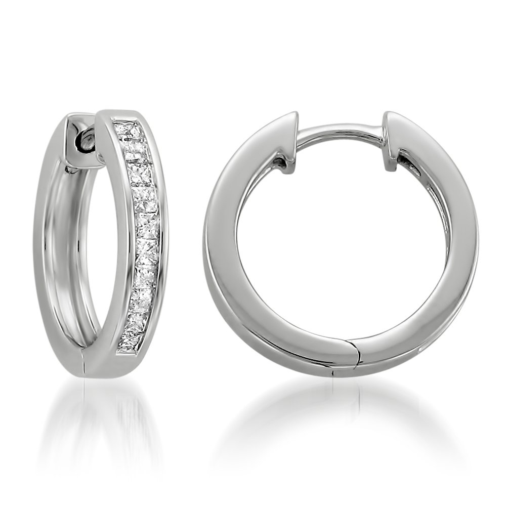 14k White Gold Princess-cut Diamond Hoop Earrings (1/2 cttw, H-I, I1-I2)