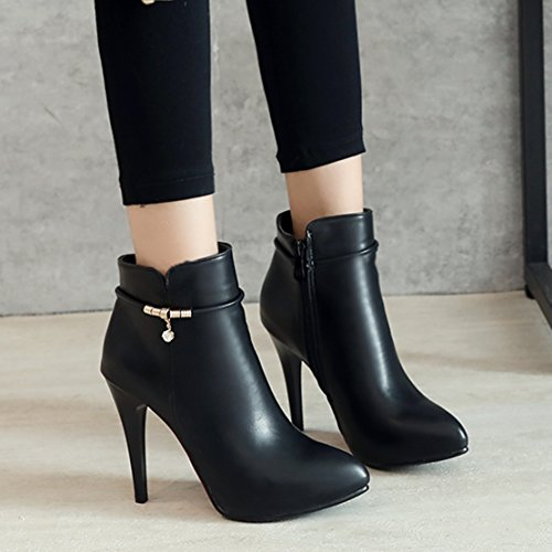 AIYOUMEI Womens Pointed Toe Zipper Spike Stilettos Autumn Winter Ankle Boots Black OKu9izX