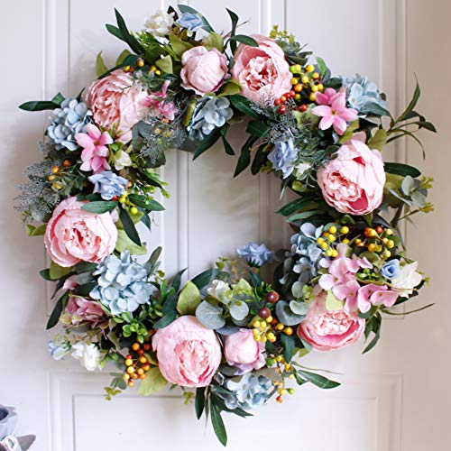 "Dseap Wreath - 22"", Peony: Large Rustic Farmhouse Decorative Artificial Flower Wreath, Faux Floral Wreath for Front Door Window Wedding Outdoor Indoor - Round, Pink & ()"