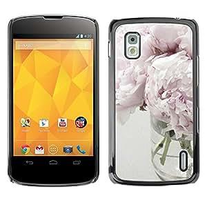 For LG Google NEXUS 4 / Mako / E960 Case , Light Purple White Vase Design - Diseño Patrón Teléfono Caso Cubierta Case Bumper Duro Protección Case Cover Funda