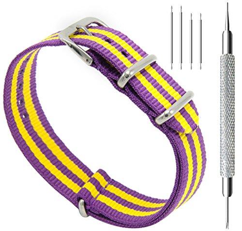 (CIVO Watch Bands NATO Premium Ballistic Nylon Watch Strap Stainless Steel Buckle (Purple/Pumpkin,)