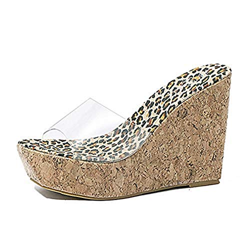 new Women's Clear Strappy Wedges High Heels Platform Slides Sandals Open Toe Slip on Cork Roman Sandals Shoes for cheap