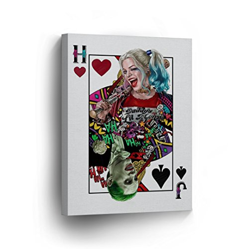Suicide Squad Joker and Harley Quinn Playing Card Canvas Print Decorative Art Modern Wall Décor Artwork Wrapped Wood Stretcher Bars Vertical- Ready to Hang - %100 Handmade in the USA- (Sexy Robber)