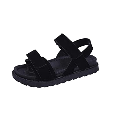 00d08ea8655 OHQ Sandales de Plage DéContractéEs D éTé pour Femme Noir Rose Femmes  Chaussures Plates Bout