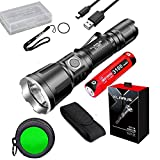 Klarus XT11GT Upgraded Version XT11X 3200 Lumens CREE XHP70.2 P2 LED Rechargeable Tactical Powerful Flashligh with Battery,Holster, FT11 Filter,battety case (XT11X FT11 Green Filter)