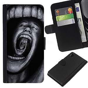 For Sony Xperia Z2 D6502 Case , Teeth Horror Terror Black Spooky - la tarjeta de Crédito Slots PU Funda de cuero Monedero caso cubierta de piel