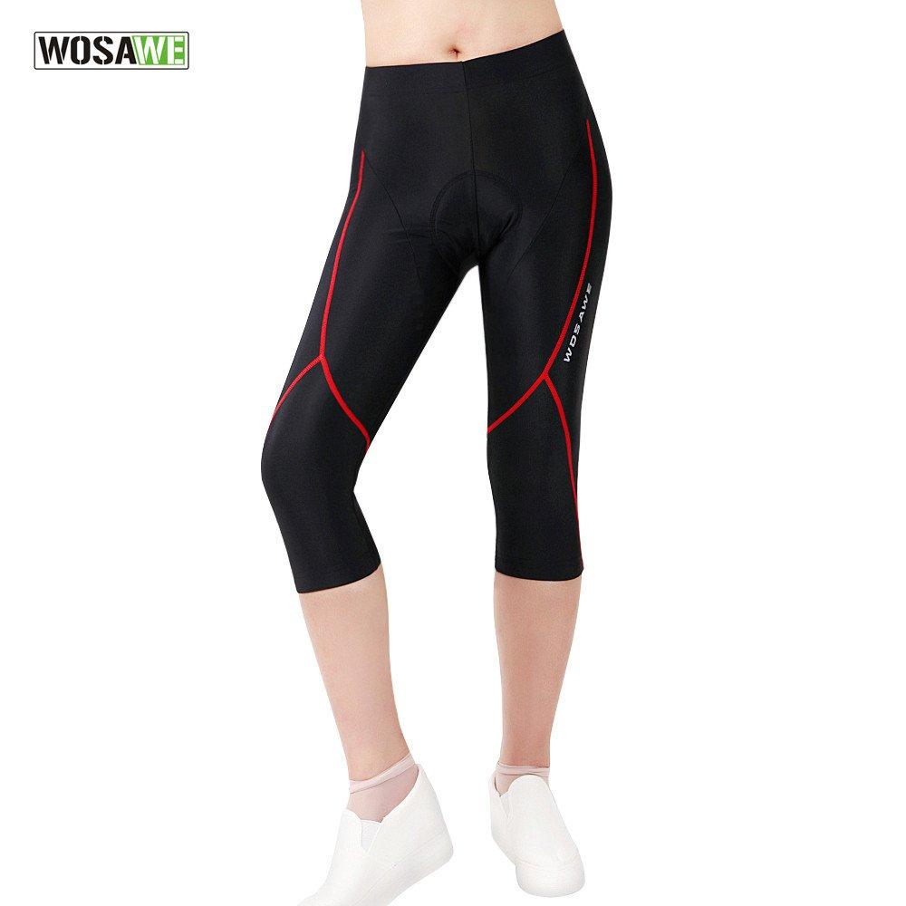 Wosawe - Maglia da ciclismo a maniche corte e pantaloncini imbottiti in gel 4D, abbigliamento sportivo da donna per MTB donna 3/4 Shorts S BC127- 00S