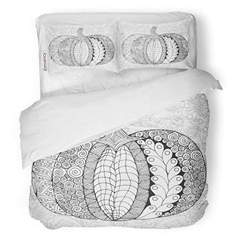Tarolo Bedding Duvet Cover Set Zentangle Pumpkin Black White Traditional Symbol of Thanksgiving Halloween Autumn Sketch for Colouring Page 3 Piece Twin 68