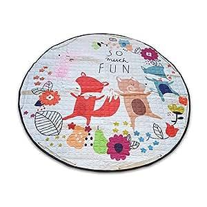 Large Baby Playmat, Toy Storage Bag with Drawstring, Kids Play Gym, Soft Children Crawling Blanket, Cotton Round Floor Carpet Mat, Nursery Room Decor, Lovely Family Fun Fox Animal Patterns, 150 CM Diameter