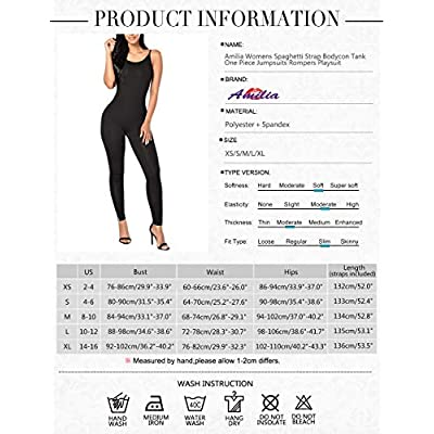 Amilia Womens Spaghetti Strap Bodycon Tank One Piece Jumpsuits Rompers Playsuit: Clothing