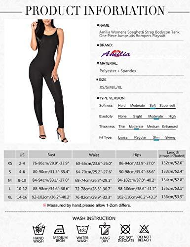 44b32dd38b4d Amilia Womens Spaghetti Strap Bodycon Tank One Piece Jumpsuits Rompers  Playsuit