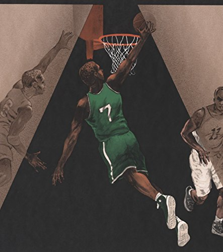 Basketball Players Black Brown Sports Wallpaper Border Retro Design, Roll 15' x 10.5'' (Basketball Wallpaper Borders)