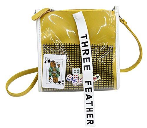 SAIERLONG Femmes Packs de gelée Cuir Pu Mme sac à bandoulière(toumingbag06-4-White) 1-jaune
