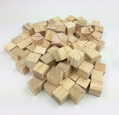Efivs Arts 3/4''(20MM) Wood Blocks Unfinished Wooden Block Cubes for Crafts and Carving-Set of 100 by Efivs Arts