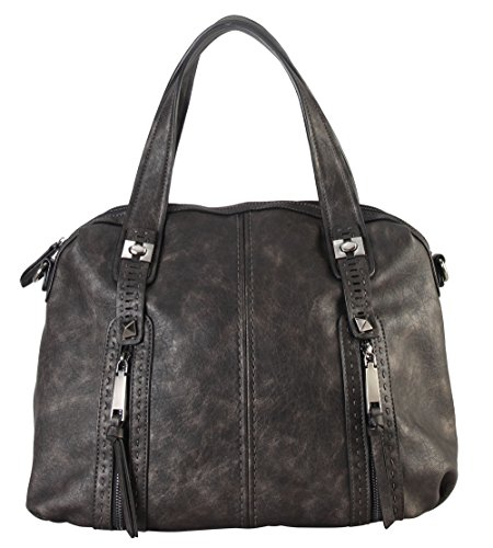 diophy-gun-metal-double-front-pockets-doctor-style-tote-handbag-cz-3724-pewter