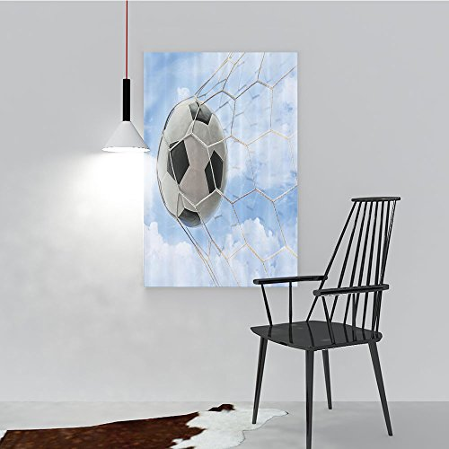 Stick Goal Jr (Philip C. Williams Modern Decoration for Living Room Bedroom Home Ball in Goal with Cloudy Sky Summertime Outdoor Activities Sporting Art Wall Decor Frameless W24 x H32)