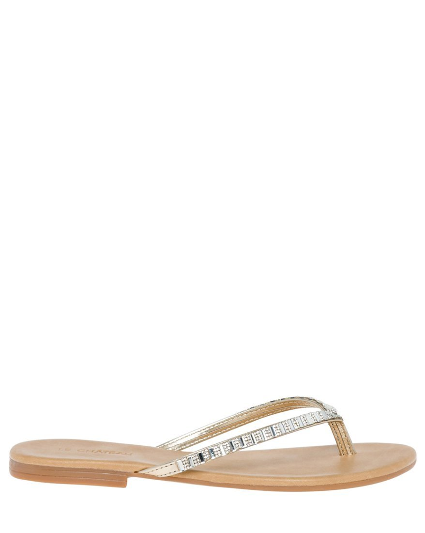LE CHÂTEAU Women's Jewel Embellished Leather-Like Flip Flop,39,Gold