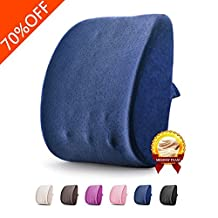 Balichun Lumbar Pillow Memory Foam Lower Back Support Cushion Pillow for Car, Office Chair and Travel-Ergonomic Design Pillow Relieves Back Pain (Jazz Blue)