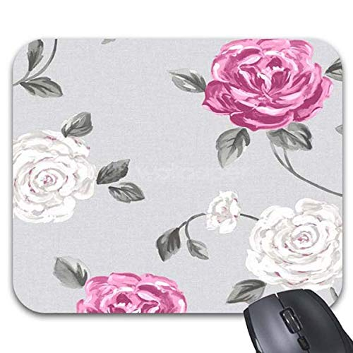 Mousepad Pink and Grey Floral Mouse Mat -