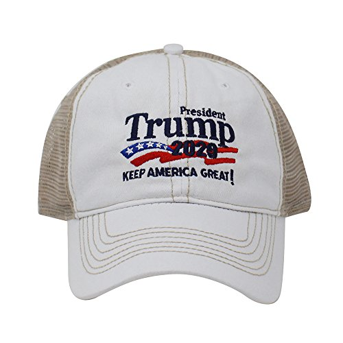 (ChoKoLids Trump 2020 Keep America Great Campaign Embroidered USA Hat | Baseball Bucket Trucker Cap (Trucker White))