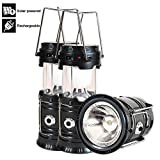Led Camping Lantern, 3 Pack Rechargeable Solar Lanterns Collapsible, Bright Lamp Outdoor Flashlight Portable for Camp, Power Outages, Emergencies, Hurricanes, Hiking, Fishing, Tent (Black)