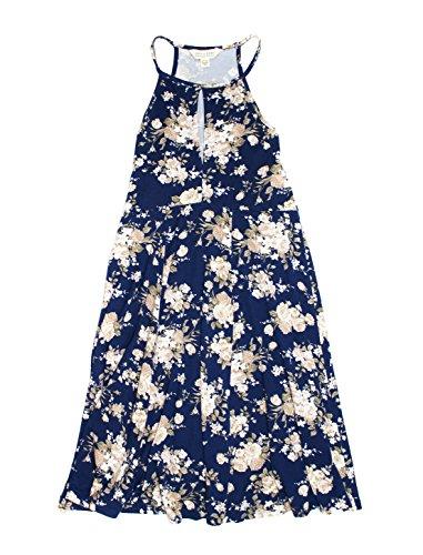 American Eagle Femmes Doux Et Sexy Robe De Trou De Serrure Salut-cou Bleu Marine 9617