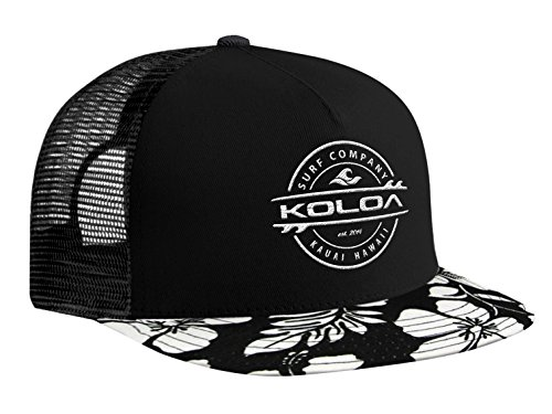 - Koloa Surf(tm) Thruster Logo Mesh Back Trucker Hat in Hawaii Flowers - White Logo