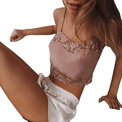 Tuesdays2 Girlfriends Women's Camiflage Breathable Stretch Lace Half Cami (L, Pink) - Cami Stretch Lace Camisole Bra
