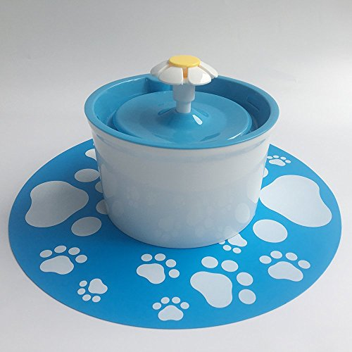 pettime Pet water fountain Dog Cat Automatic Electric Water Pump Drinking Bowl(Little Flower) (Blue)