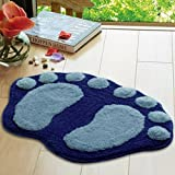 Molyveva Soft Feet Memory Foam Bath Bathroom Bedroom Plush Floor Shower Mat Rug, Blue