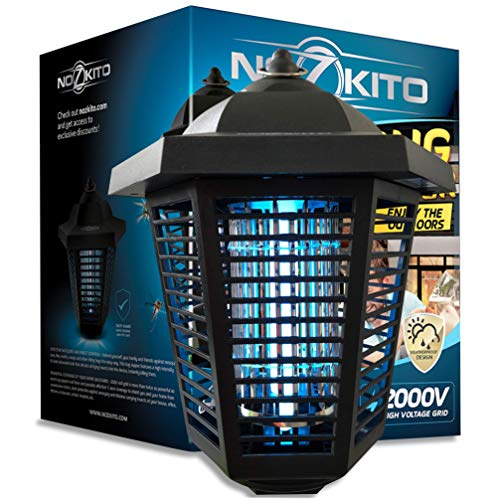 Nozkito Bug Zapper Lantern for Outdoor and Indoor Use. Mosquito Trap and Insect Killer UV Lamp. Great for Backyard, Patio, Porch and Garden. Powerful 2000 Volt Grid. Weatherproof and Easy to Clean