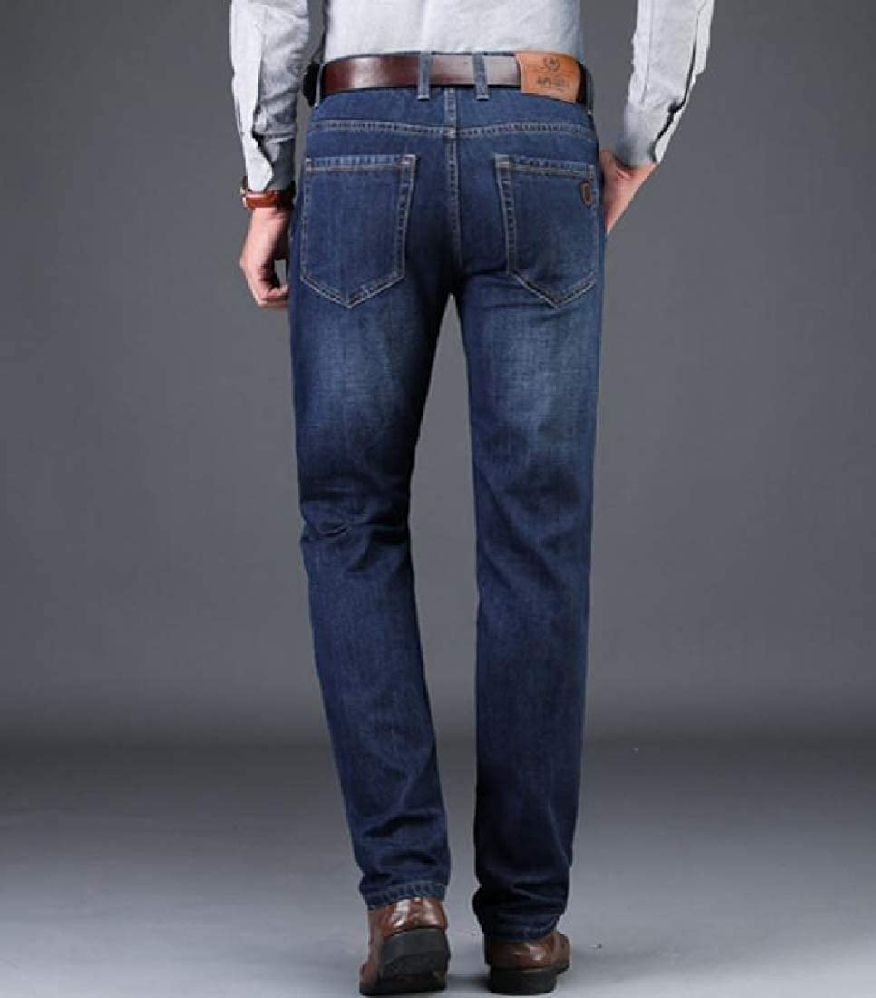 Zimaes-Men Relaxed Thickened Pockets Slim Fit Middle Waist Vogue Denim Pants