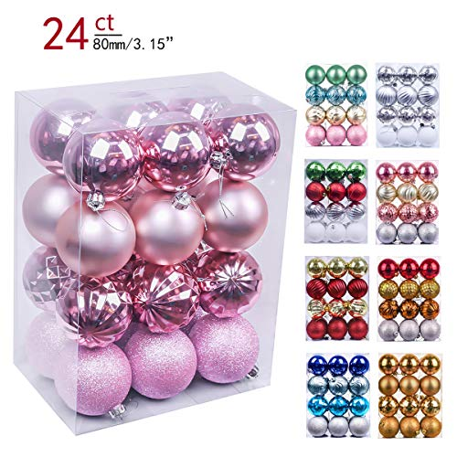 Valery Madelyn 24ct 80mm Essential Pink Basic Ball Shatterproof Christmas Ball Ornaments Decoration,Themed with Tree Skirt(Not Included)