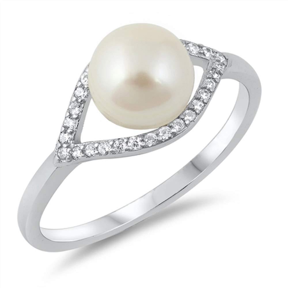 Buy For Less Simulated Pearl Bead Center Clear Cubic Zirconia Ring 925 Sterling Silver