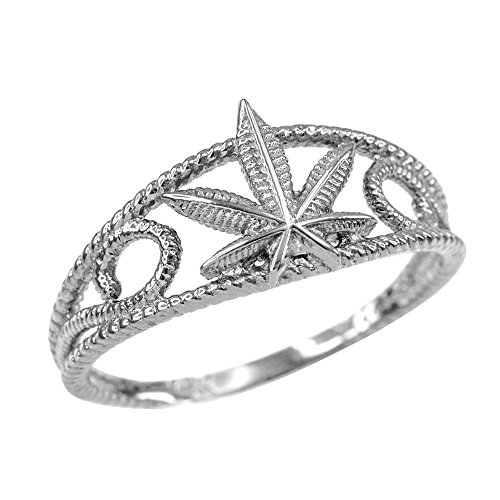 Modern Contemporary Rings High Polish 925 Sterling Silver Filigree Rope Band Marijuana Leaf Ring (Size 8) (Mens Contemporary Rings)