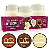NRB Beauty Revival Lip Scrub 3 Piece Set - All Natural Sugar Based - Exfoliating & Moisturizes Chapped Dry Lips - 0.5 oz Each - Made In The USA - Everyday