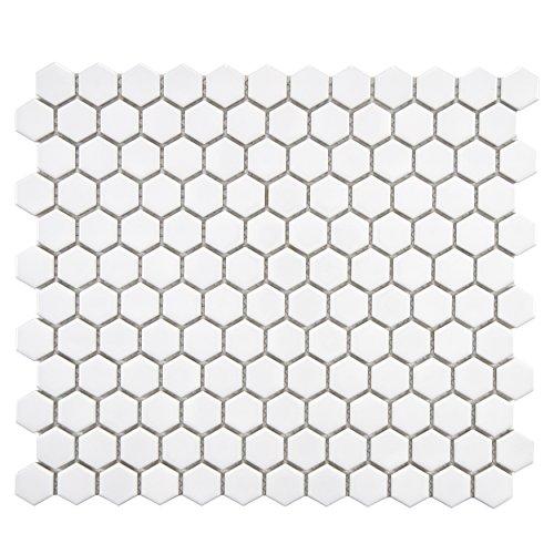 (SomerTile FXLMHW Retro Hexagon Porcelain Floor and Wall Tile, 10.25