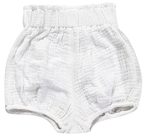 LOOLY Unisex Baby Girls Boys Cotton Linen Blend Bloomer Shorts White - Bloomers Pack 3