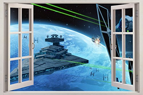 STAR WARS 3D Window Decal WALL STICKER Art Mural Imperial Star Destroyer H251, Huge -