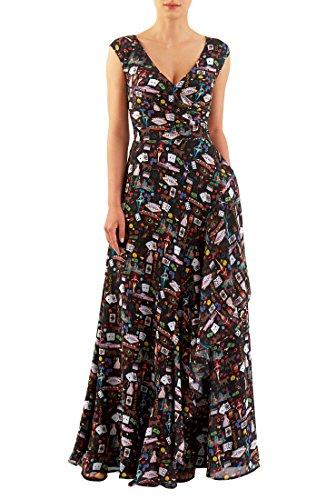eShakti Women's Las Vegas print georgette ruffle front maxi dress M-10 Regular - Georgette Dress Stretch