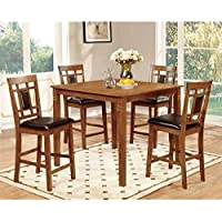 Furniture of America Bennett 5-Piece Light Oak Counter Height Dining Set