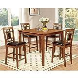 Furniture of America Bennett 5-Piece Light Oak Counter Height Dining Set