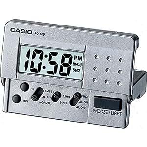 Despertador CASIO PQ-10D-8R - Despertador Digital de viaje con luz y repetición. Color gris
