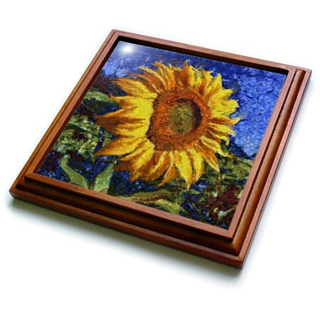 3dRose trv_260798_1 Sunflower in Van Gogh Style Trivet with Tile, 8 by 8''