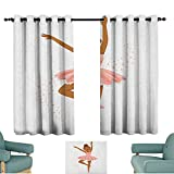 Girls,Indo Panels Drapes Ballerina Dancing Daughter Classic Performance Hobby Birthday Kids Baby Theme 100''x96'' Backout Draperies for Chidren Bedroom